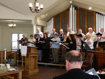 The FCUCC Choir performing in our sanctuary during Sunday service